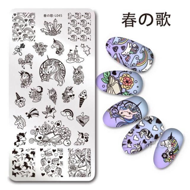 Nail Art Stamping Plate Unicorn Pattern Manicure Stamp Template