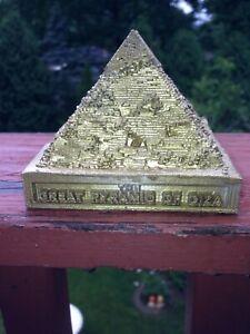 Great Pyramid Of Giza Figurine/Statue Gold Colored W Interior Design 3 Inch Tall
