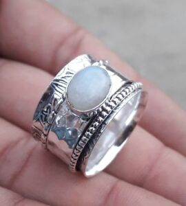 Moonstone-Solid-925-Sterling-Silver-Spinner-Ring-Jewelry-All-Size-Handmade-AK-19