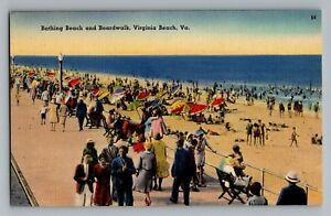 Details about Virginia Beach VA Bathing Beach Boardwalk Linen Postcard  1930-45