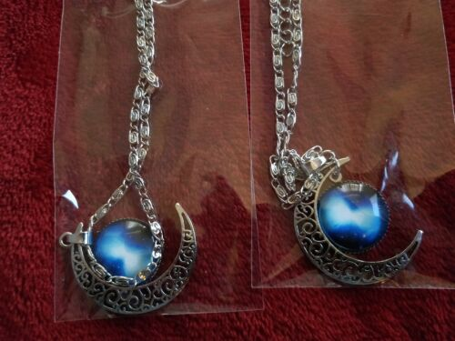 Starry Sky and Moon Vintage Silver Pendant Necklace Ladies Jewellery UK