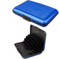 Blue Aluminium Metal Wallet Id Credit Business Card Purse Case Pocket Holder Uk