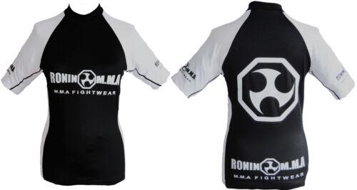 Grappling Cage Fighting Ronin MMA UFC Black /& White Rash Vest // Rash Guard