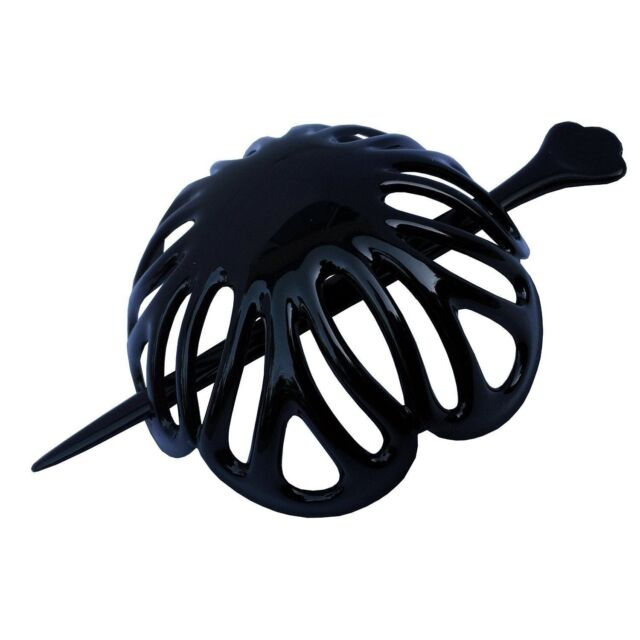 Parcelona French Radial Medium Black Celluloid Hair Slider Bun Cover with Stick