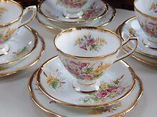 Vintage CLARE Flora English Bone China Retro 40s 50s Tea Set Cups Saucers Plates