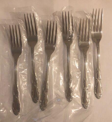New Oneida Wm Rogers Stainless  FENWAY DAYDREAM 6 Dinner Forks