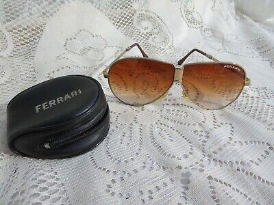 Men S Ferrari Folding Aviator Sunglasses Case Gold Frame Amber Lens Ebay
