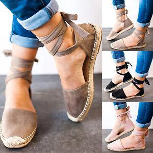 Femmes-Retro-classique-Bandage-Cheville-Sangle-Sandales-En-Daim-Plates-Espadrilles-Chaussures-10