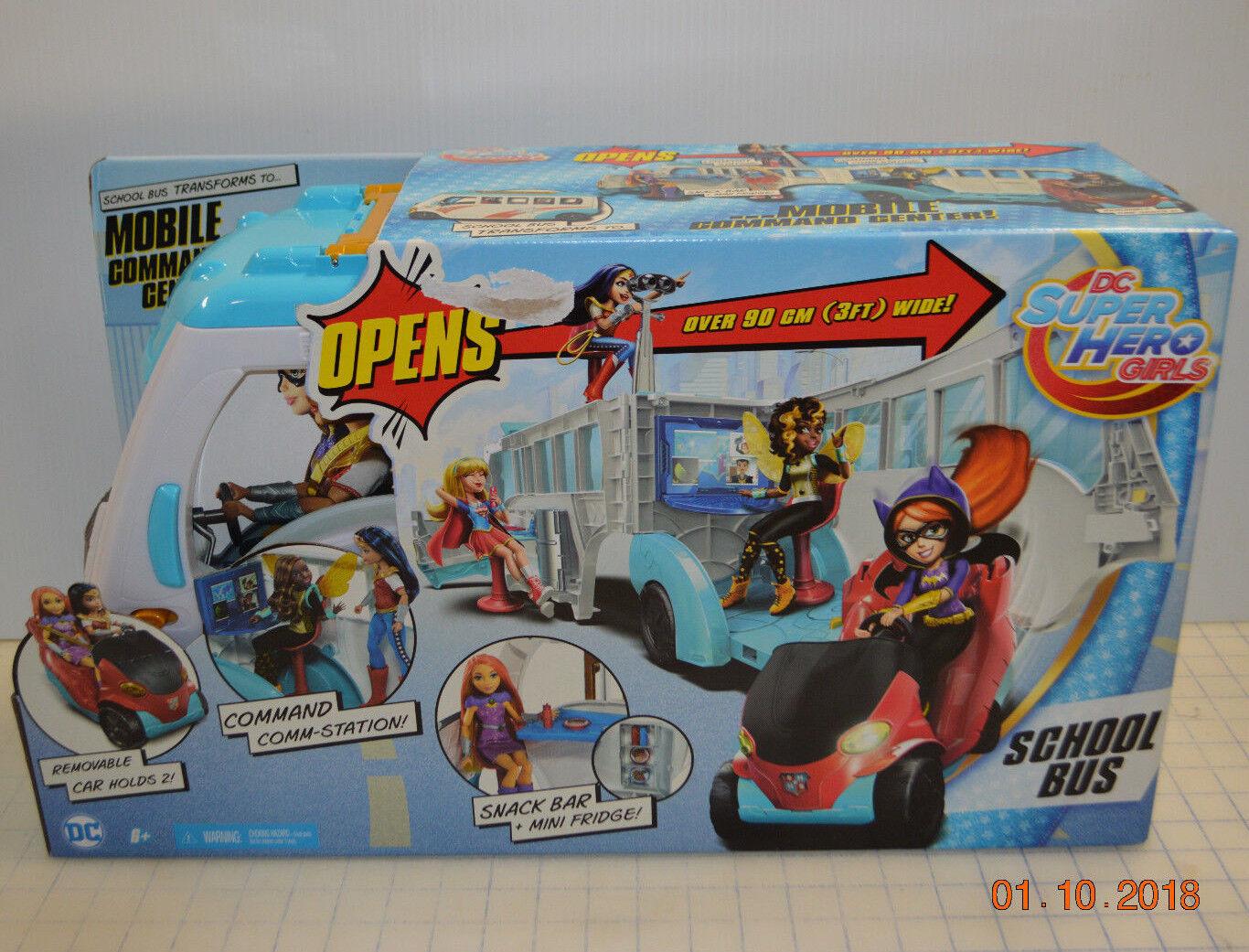DC súper hero Niñas Escuela Bus Mobil vehículo centro de comando de 12  figuras