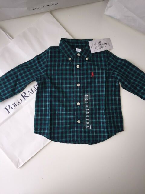 BNWT Ralph Lauren Boys Designer Long Sleeves Check Shirt 3M O-3 Mths  RRP£45.00