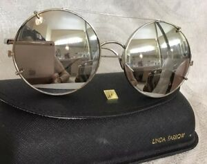 7072d9d8799 Image is loading Linda-Farrow-Sunglasses-Round-Mirror-Silver-Frame