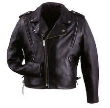 NEW Mens Leather Motorcycle Vented Jacket Gun Pocket Sport Casual Black 2XLARGE