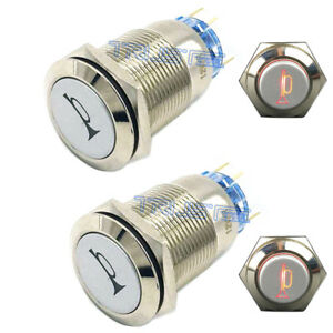2 x Durable 12V LED 19mm Momentary Red Car Horn Push Button Toggle Light Switch