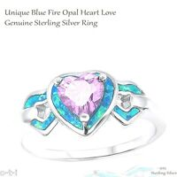 Heart Love Lavender Alexandrite Cz Engagement Blue Opal Sterling Silver Ring