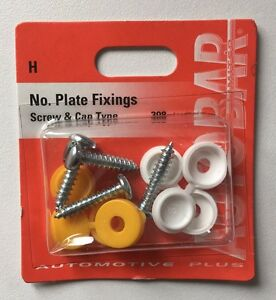 4-Pack-Bolt-amp-Nut-Yellow-White-Black-Number-Plate-Screws-Cap-Kit-UK-Post