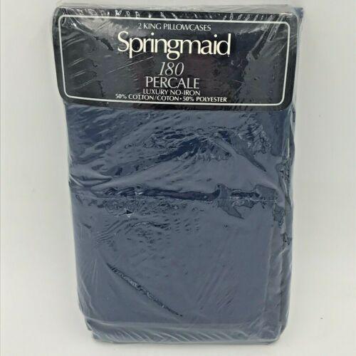 Springmaid King Pillowcases Set of 2 Pinafore Navy Blue 180 Percale No Iron K7