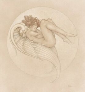 Michael Parkes Angel Of August LTD Print On vellum Signed By Artist