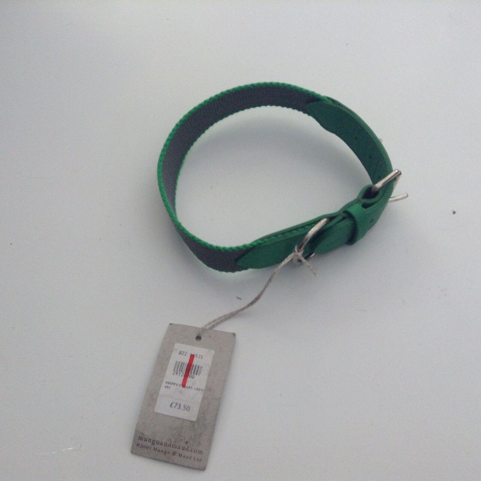 Mungo & Maud Preppy Dog Collar, Green, Medium, New RRP .50