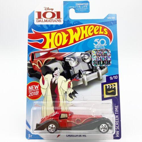 2018 Hot Wheels Screen Time Cruella Panther De Ville Disney 101 Dalmatians Red