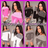 NEW SEXY WOMENS DESIGNER JUMPER MINI DRESS SIZE 6 8 10 12 14 LADIES TOP S M L XL