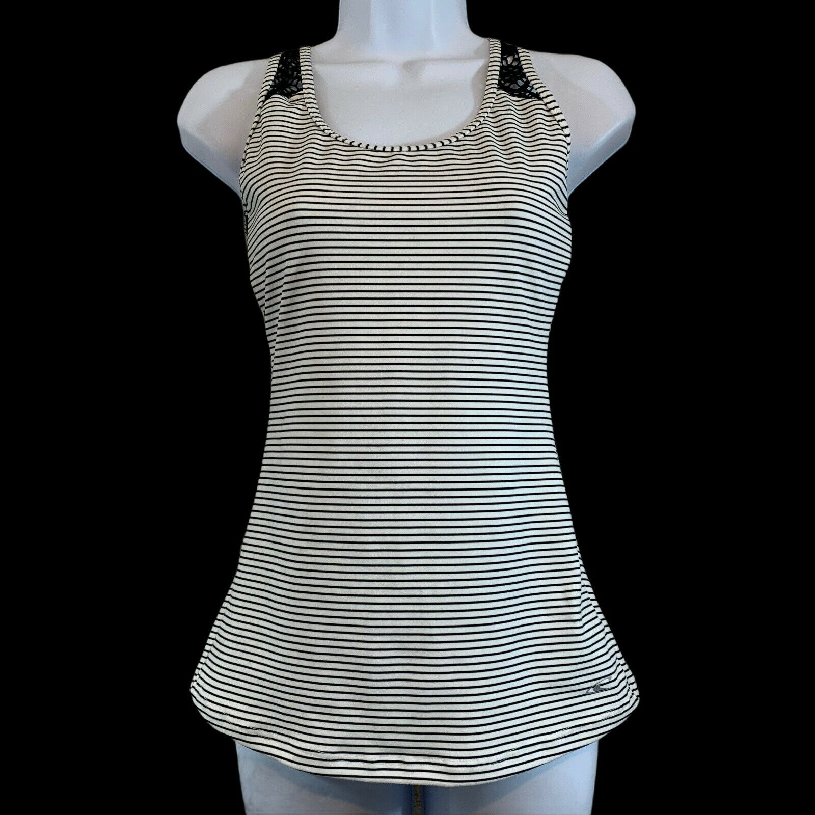 Women's O'Neil 365 Racerback Tank Top Athletic Black & White Crochet Lace Back S