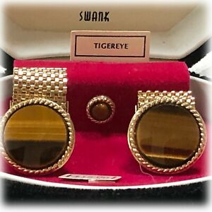 VTG-MCM-1960s-SWANK-TIVOLI-Tigereye-CUFF-LINKS-amp-TIE-TAC-in-Clamshell-Box-NOS