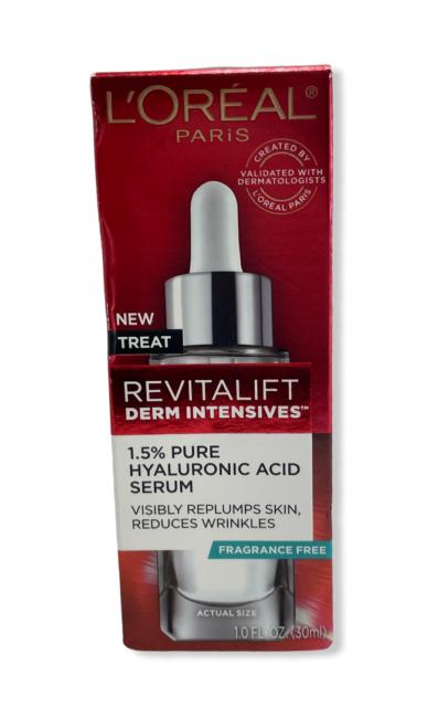 L'Oreal Paris Derm Intensives Hyaluronic Acid Face Serum, Revitalift, 1 fl. oz