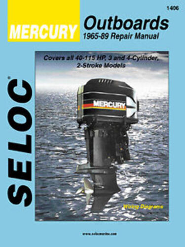 Seloc Marine Mercury 3//4 Cyl 2 Stroke 45-115HP Shop Repair Manual 1965-1989
