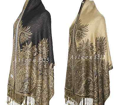 Triple Layer Pashmina & Silk PaisleyShawl-Black #D