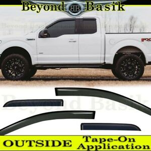 4PC Window Visor Rain Guard Vent Shades Smoke Fit 2015-2019 Ford F150 Super Cab