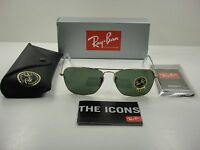 Ray-ban Caravan Sunglasses Rb3136 001 Gold Frame/green Classic Lens 58mm