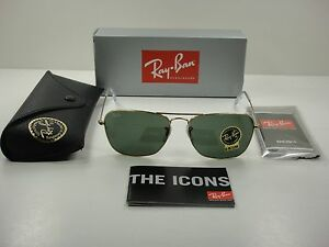 1f8a4227846d5 RAY-BAN CARAVAN SUNGLASSES RB3136 001 GOLD FRAME GREEN CLASSIC LENS ...