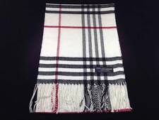 NEW 100% Cashmere Scarf Black White Red Scotland Warm Wool Check Plaid C50 WOMEN