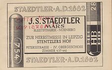 NÜRNBERG, Werbung 1941, J. S. Staedtler MARS Bleistift-Fabrik Leipziger Messe