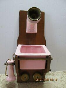 RARE-Ever-Art-Original-Wood-amp-Pottery-Indoor-Wall-Planter-Telephone-8