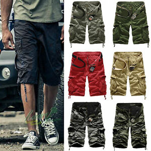Mens-Casual-Cargo-Pants-Shorts-Trousers-Cotton-Military-Camo-Army-Combat