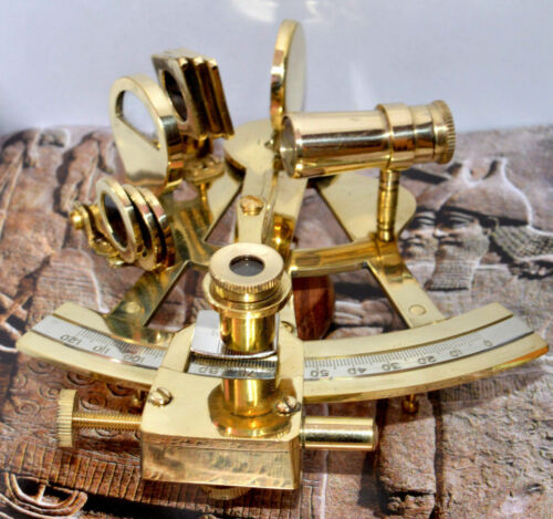 "Maritime Ship Instrument Marine Solid Brass 5/"" Nautical Sextant"