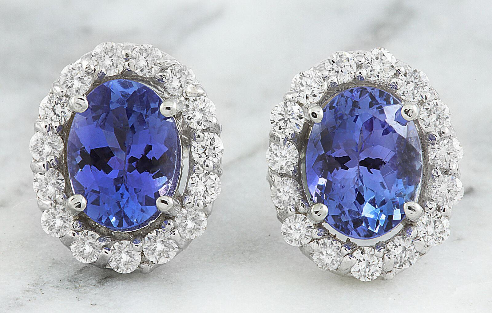 6d666ff7c8e1c gold White Solid 14K Tanzanite Carat 3.07 Diamond Genuine Earrings ...