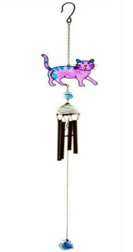 CAT WIND CHIME HAND CRAFTED METAL BLUE PURPLE