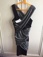 Reiss CICCONE Designer abito da party, argento e nero taglia XS,