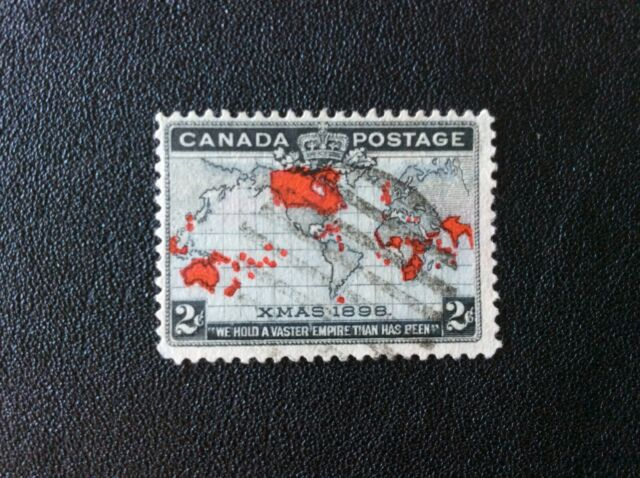 Xmas 1898, first Christmas Stamp, Map of British Empire, #85 Canada, used (3of5)