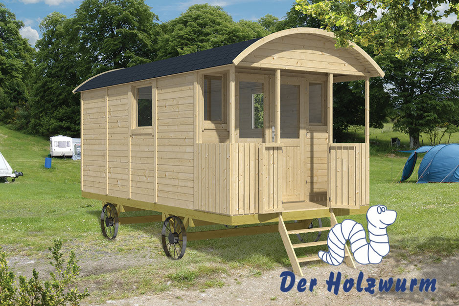 pipowagen mit r dern holz 240x500 cm holzhaus 19 mm ferienhaus wagen gartenhaus. Black Bedroom Furniture Sets. Home Design Ideas