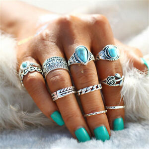 Set-10pcs-Boho-Turquoise-Finger-Knuckle-Ring-Band-Midi-Rings-Stacking-Bands-Gift