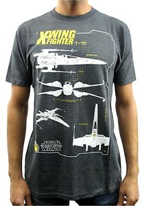 Star-Wars-T-70-X-Wing-Fighter-Diagram-Charcoal-Heather-Men-039-s-T-Shirt-New