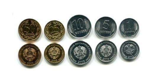 TRANSNISTRIA 1 5 10 25 50 KOPECK 2000-2005 UNC COIN SET OF 5