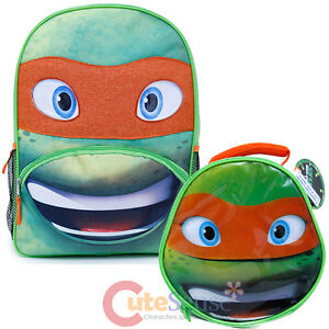 TMNT Michelangelo Large School Backpack Insulated Lunch Bag 2pc Set - Mike Face