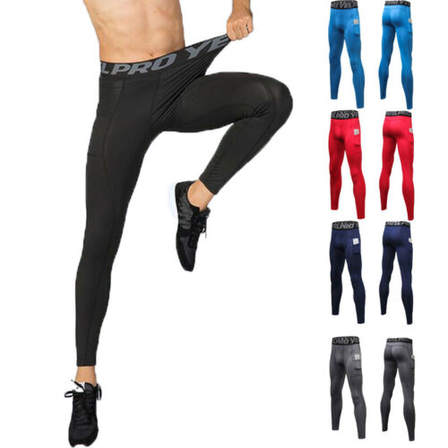 Men/'s Cycling Running Thermal Compression Gym Tights Sports Pants With Pocket