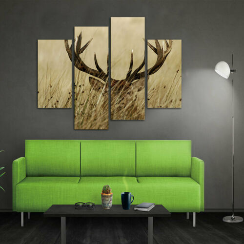 4 Panels Deer Stag with Long Antler in The Bushes Canvas Painting Wall painting