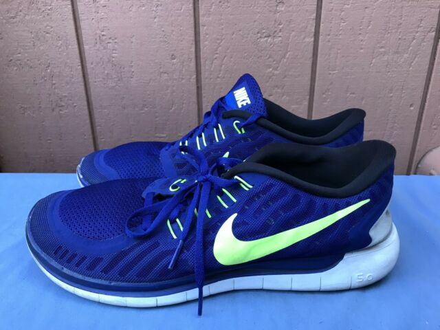 Nike Free 5.0 Mens Size US 11.5 Navy Neon 724382 407 Running Training Shoes A8