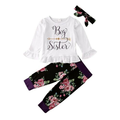 Big//Little Sister Matching Set Baby Girls Tops Romper Pants Outfits Set Clothes